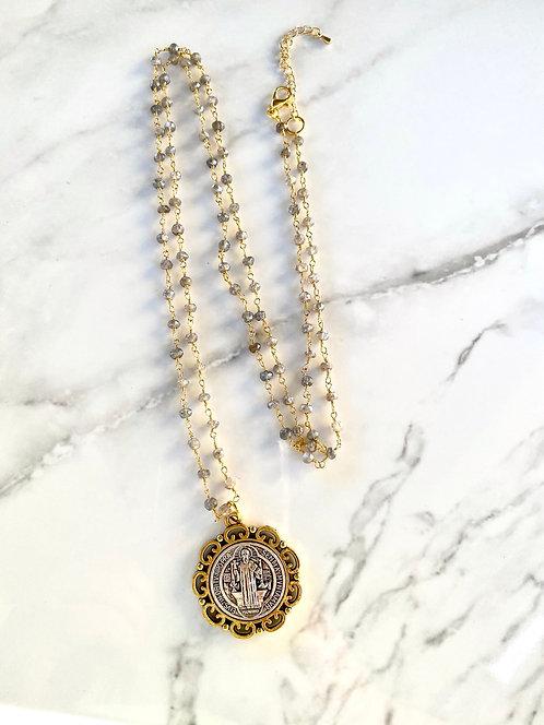 St. Benedict Necklace - Iridescent Gray