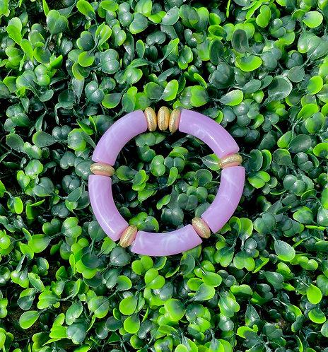 Acrylic Tube Stretch Bracelet - Lavender