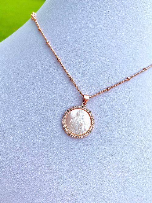 Miraculous Mary Pearl + Pavè Necklace - Rose Gold