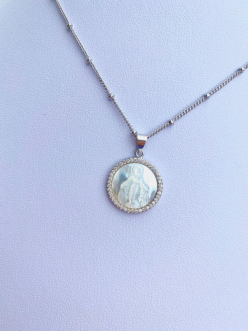 Miraculous Mary Pearl + Pavè Necklace - Silver