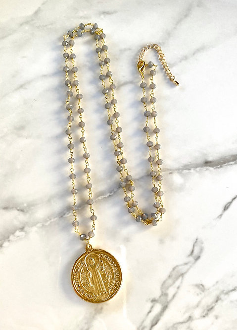 St. Benedict Necklace -Gray