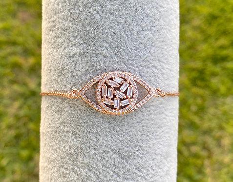 Rose Gold Baguette Adjustable Bracelet