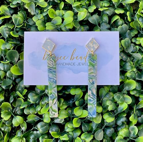 Blue Green Marble Stick Earrings