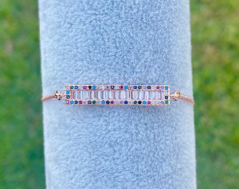 Rose Gold Rainbow Pavè Adjustable Bracelet