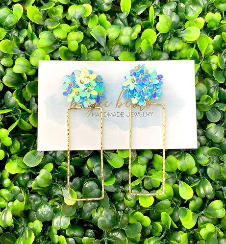 Blue Sequin Flower Earrings