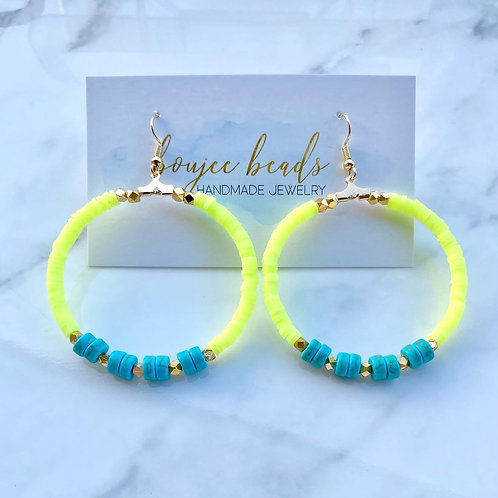 Neon Yellow Heishi Hoops