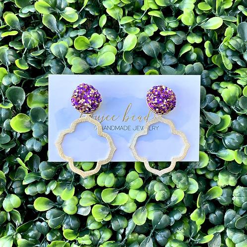 Purple & Gold Confetti Earrings
