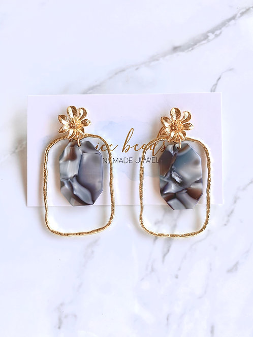 Grey Floral Earrings