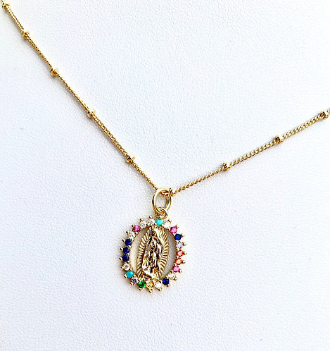 Multicolor Mary Pendant Necklace