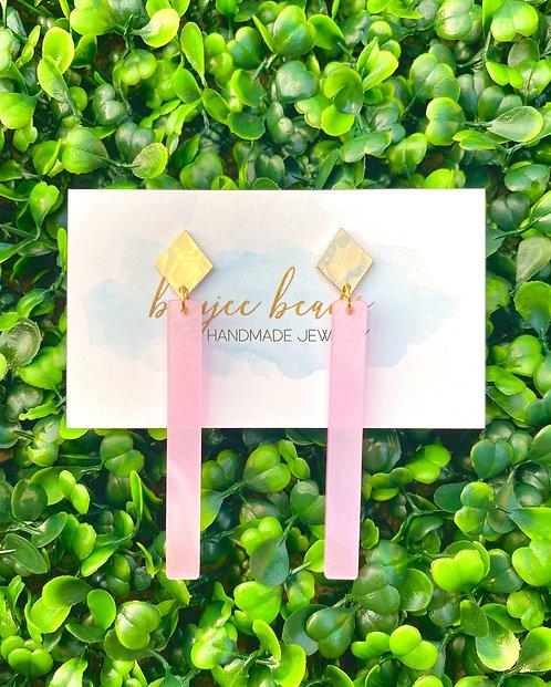 Pink Pearl Stick Earrings