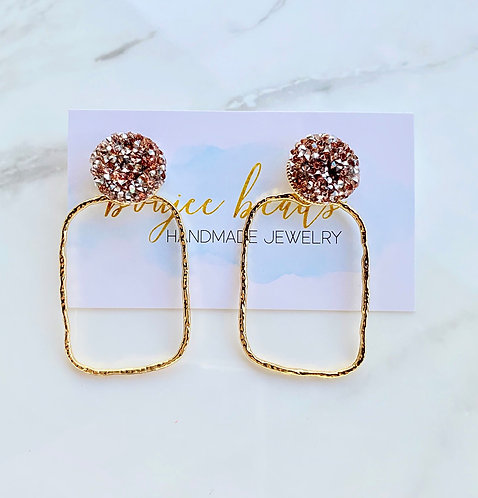 Rose Gold Glitter Dot Earrings