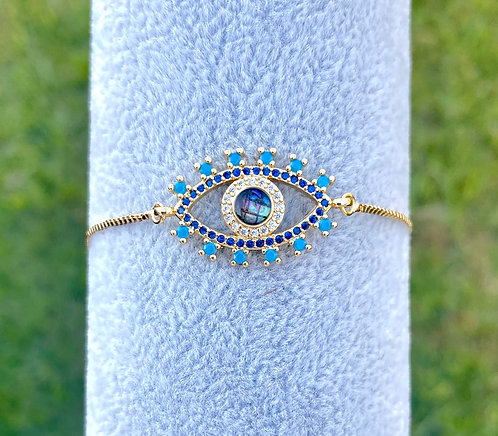 Abalone Evil Eye Adjustable Bracelet
