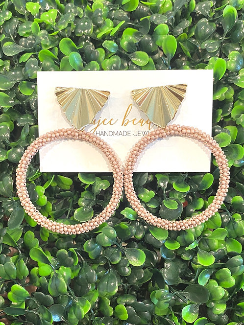 Taupe Beaded Hoops