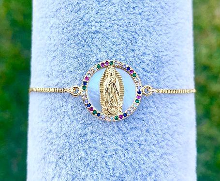 Mini Rainbow Pavè Mother of Pearl Adjustable Bracelet