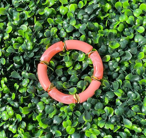Acrylic Tube Stretch Bracelet - Coral