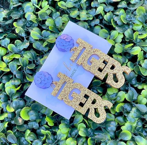Tigers Earrings - Gold & Lavender