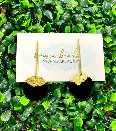 Black & Gold Disc Earrings