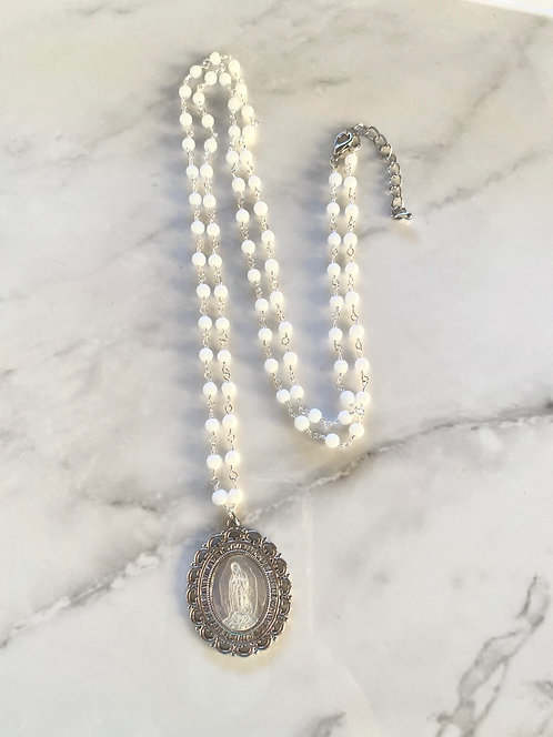 Mother Mary Necklace - Mother of Pearl