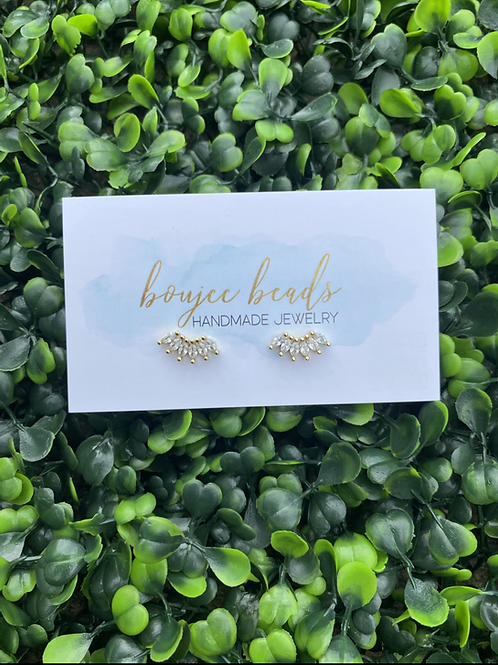 Boujee Crystal Studs - Gold