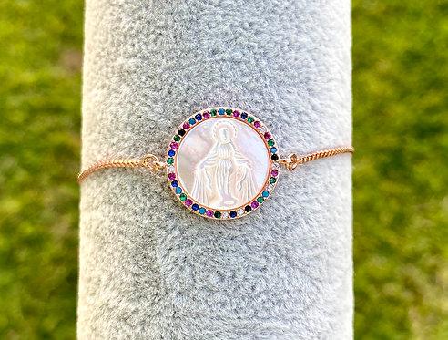 Rose Gold Rainbow Mary Bracelet
