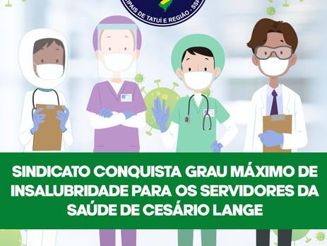 Sindicato consegue grau máximo de insalubridade para Servidores da Saúde de Cesário Lange durante a