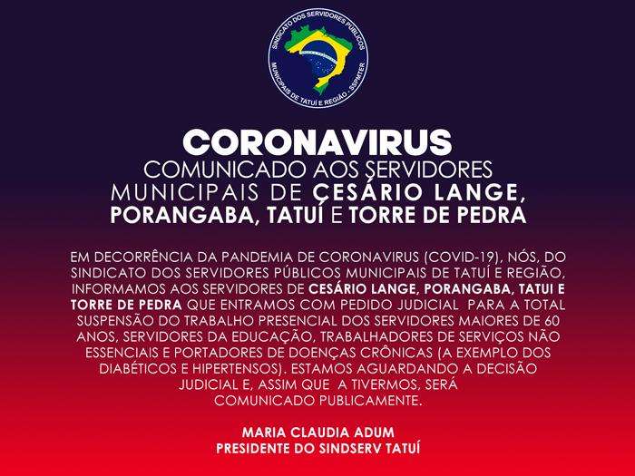 CORONAVIRUS - PEDIDO JUDICIAL DE AFASTAMENTO DO TRABALHO