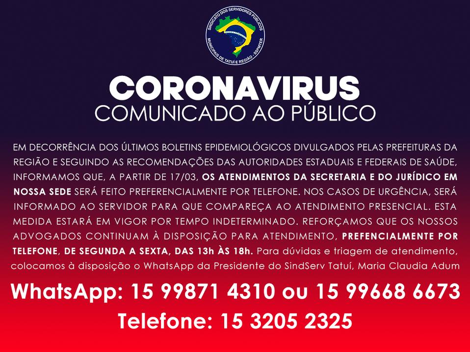 CORONAVIRUS - COMUNICADO AO PÚBLICO