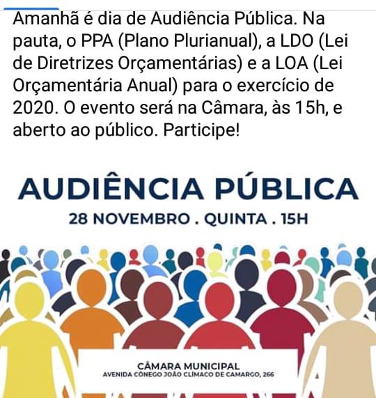 Audiência pública do orçamento 2020 em Tatuí