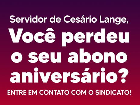 COMUNICADO AOS SERVIDORES DE CESÁRIO LANGE