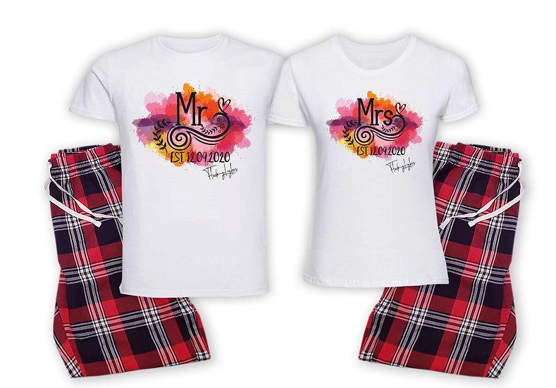 Mr & Mrs Est Colour Pyjamas