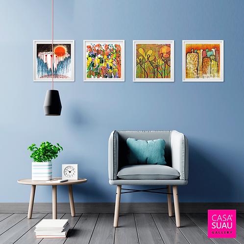 4 cuadros iconos, 35x35 c/marco