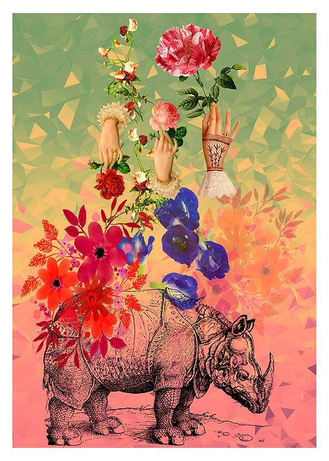 Caparazón florido, 40x60 Print Art Giclée