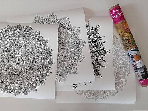 Set 4 Mandalas para colorear, 61x61 Print diversos diseños