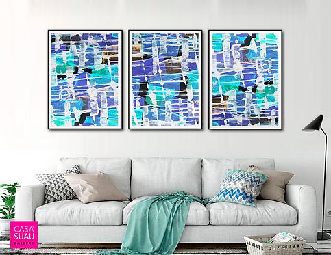 Tríptico Abstracto, 60x80 Print Art Giclée