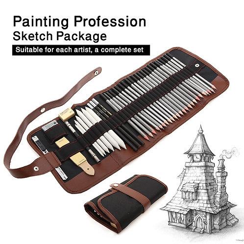 Juego de lápices de dibujo de 27/39 Uds., Kit de dibujo profesional para bocetos