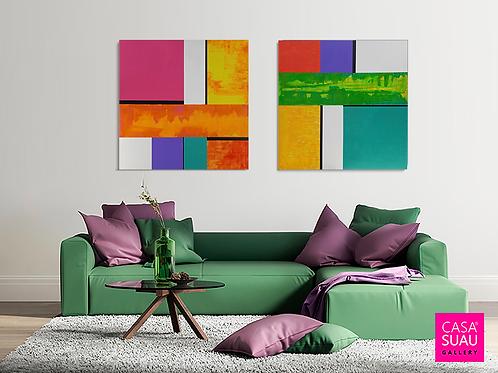 Díptico Abstracto, 100x100 acrílico