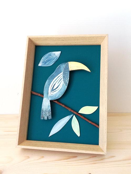 Tableau Toucan bleu en porcelaine MARIE SAMSON