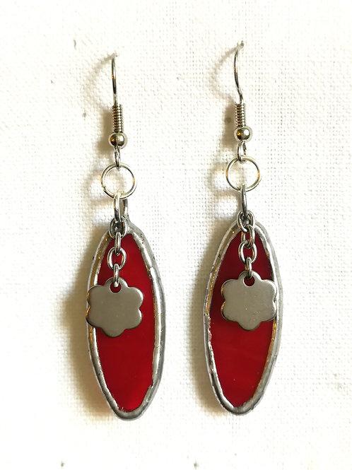 Boucles d'oreille en vitrail rouge LA JACHERE