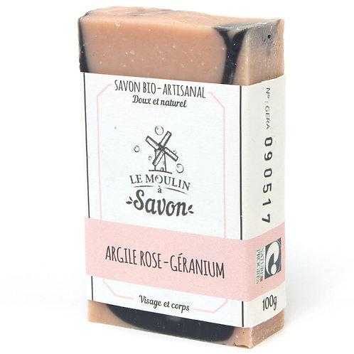 Savon artisanal argile rose-géranium Le Moulin à Savon