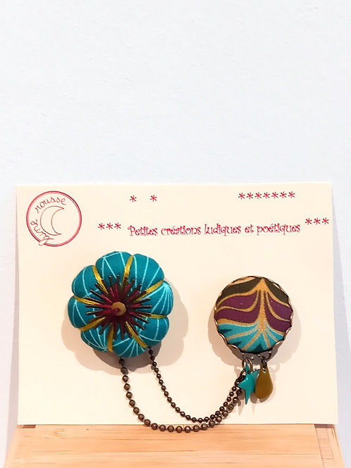 Broche double turquoise LUNE ROUSSE