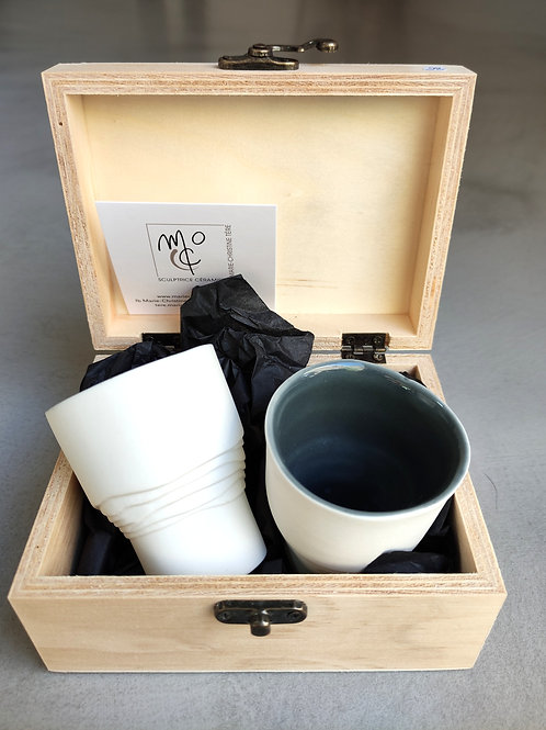 Coffret porcelaine 2 tasses expresso MARIE-CHRISTINE TERE
