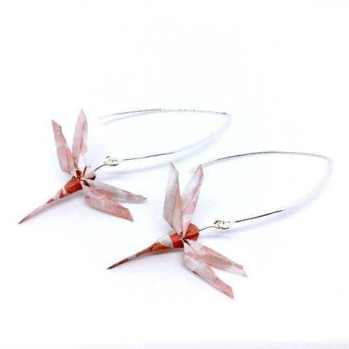 Boucles d'oreille origami libellules rouges The Cocotte