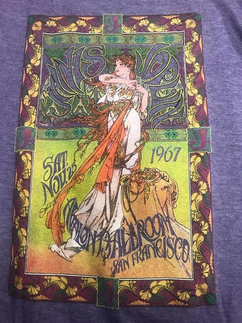 Janis Joplin t-shirt purple Avalon Ballroom Art Deco design (women's cut)