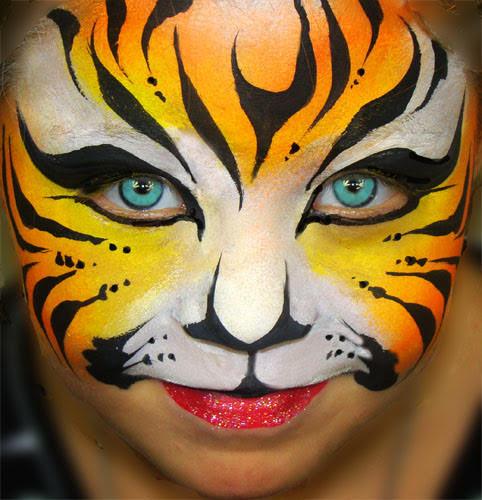 Orange tiger face painting