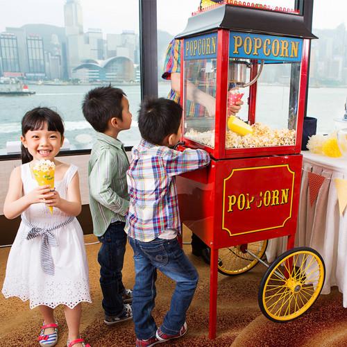 Popcorn machine serving