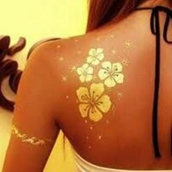 gold tattoo body paint