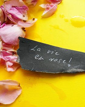 La vie en rose - motivational background rose petals  with note .jpg