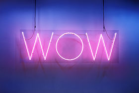 "Neon shine electricity fluorescent sign ""Wow"" concept illuminated vintage retro club glow"