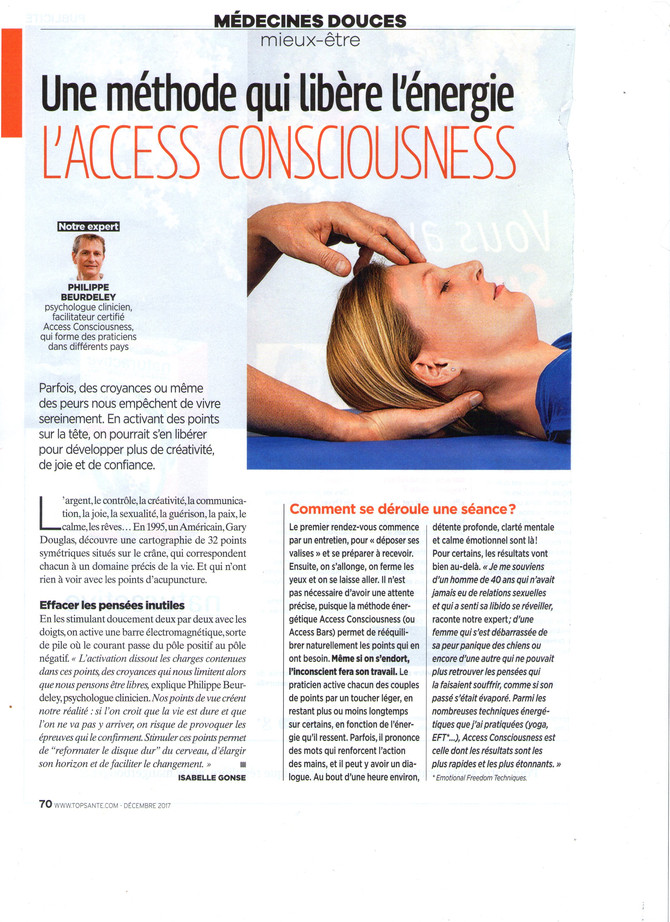Le magazine Top Santé vous parle de la méthode Access Bars.