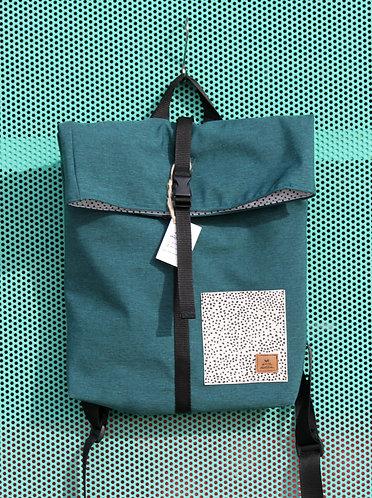 Street bag azul océano con bolsillo blanco con lunares